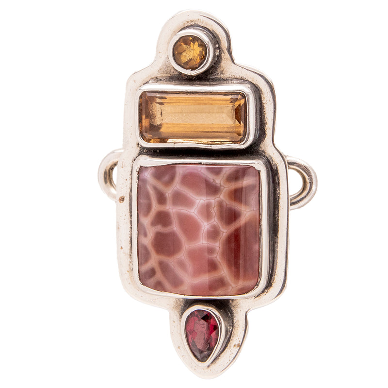 Tabra Jewelry - Snakeskin Agate & Citrine Connector Charm