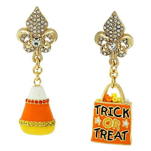 Halloween Trick or Treat Candy Corn Earrings (Goldtone)