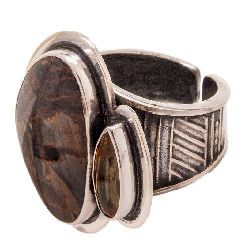 Tabra Jewelry | Sterling Silver Pietersite & Citrine Ring