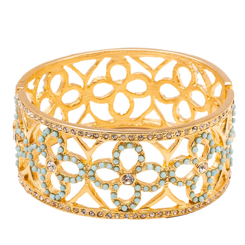 Floral Pattern Inspired Swarovski Turquoise Pave Lace Hinged Bracelet (Goldtone) Ritzy Couture