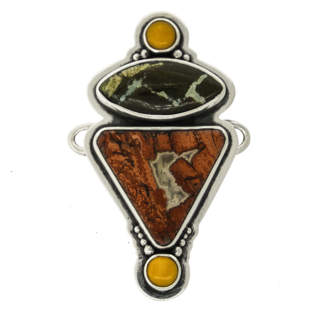 Tabra Jewelry - Silver Amber Red Jasper Connector Charm