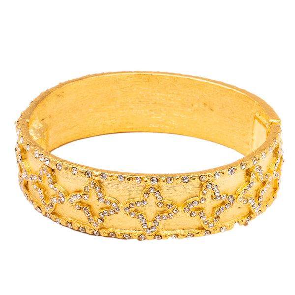 Ancient Cross Inspired Swarovski Crystal Pave Hinged Oval Bracelet (Goldtone) Ritzy Couture