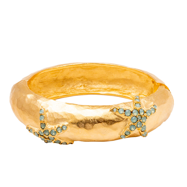 Starfish and Beach  Inspired Swarovski Crystal Pave Hinged Oval Bracelet (Goldtone) Ritzy Couture