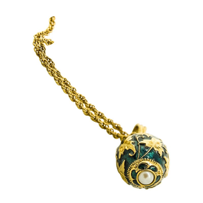 Egg Charm Pendant Necklace Green Gold Leaf Chain