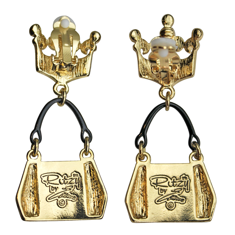 Ritzy Couture Crown & Handbag Shopping Charm Earrings (Goldtone) - clip / Black/Gold