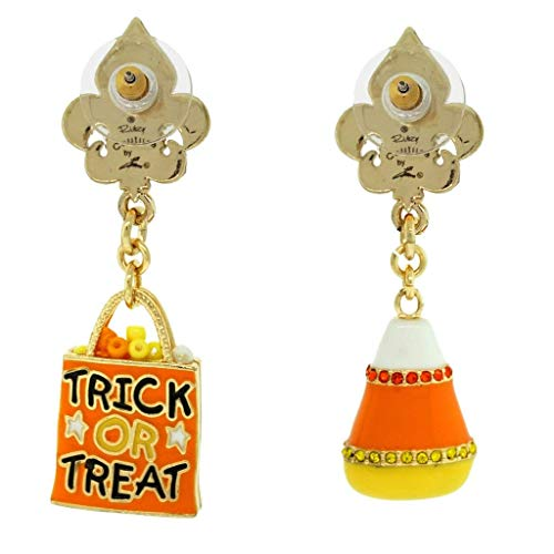 Halloween Trick or Treat Candy Corn Earrings (Goldtone) - Back Side