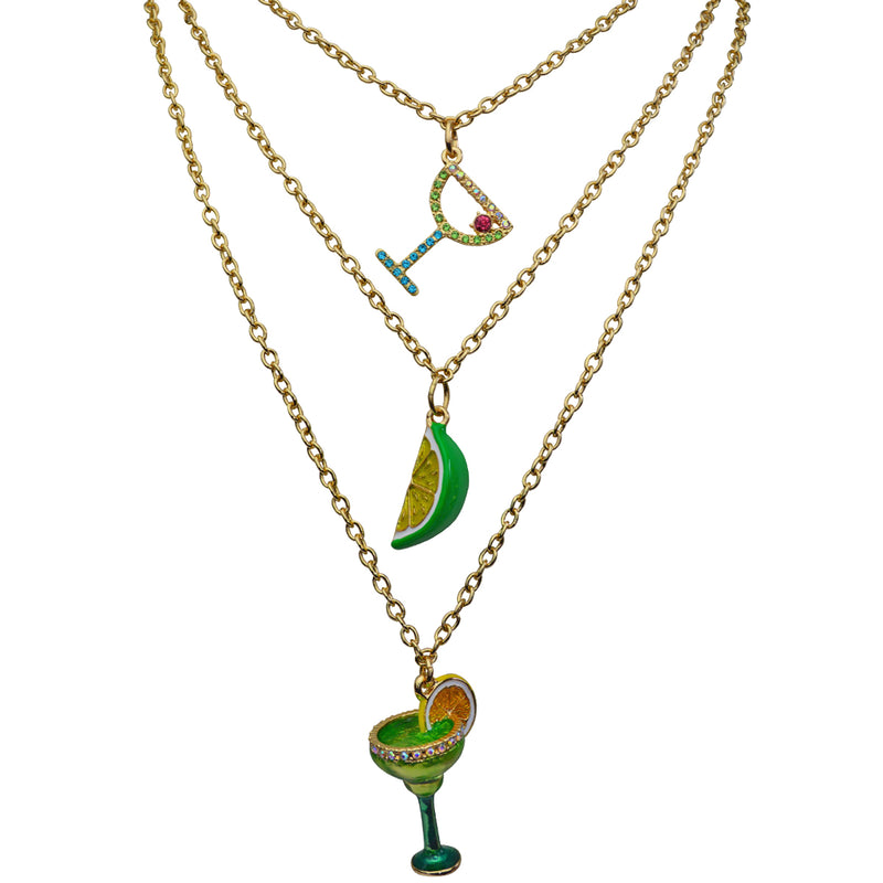 Triple Chain Margarita Cocktail Charm Necklace Jewelry
