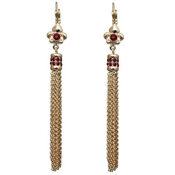 Fleur-de-Lis Siam Ruby Tassel Leverback Earrings (Goldtone) Ritzy Couture