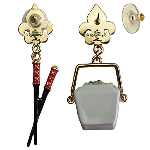 Chinese Container & Chopsticks Earrings For Women - Back Side