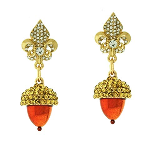 """Autumn Acorns"" Fall Acorn Topaz Crystal Dangle Earrings (Goldtone) Ritzy Couture"