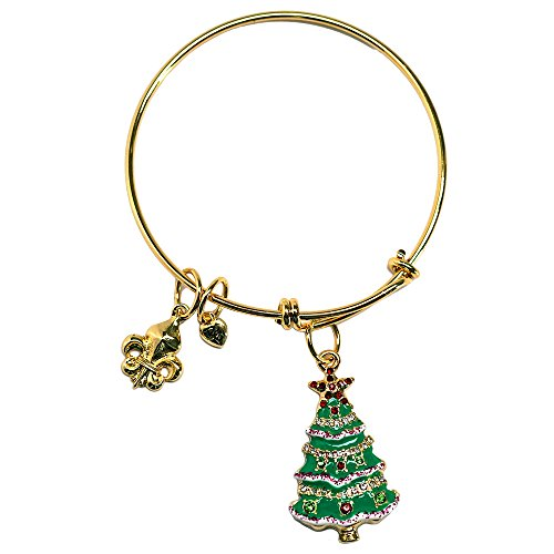 """Christmas Tree"" Adjustable Bangle Stackable Bracelet (Goldtone) Ritzy Couture"