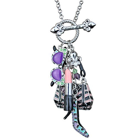"""Shopping"" Deluxe Multi Charm Pastel Toggle Necklace (Silvertone) Ritzy Couture"