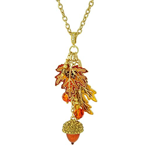 """Fall Foliage"" Removable Pave Enhancer Charm Necklace (Goldtone) Ritzy Couture"