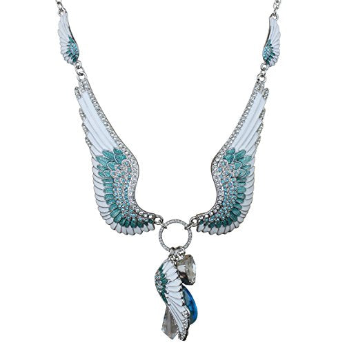 """Angels Among Us"" Multi Charm Necklace Silvertone Ritzy Couture"