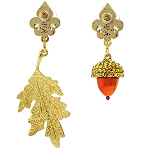Fall Acorn & Oak Leaf Dangle Drop Jewelry Earrings - Back Side