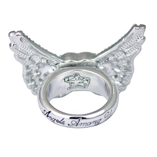 """Angels Among Us"" Heart & Angel Wing Ring 