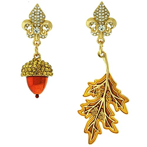 Fall Acorn & Oak Leaf Dangle Drop Jewelry Earrings