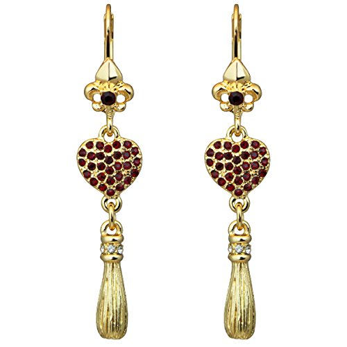 """Love Life"" Heart Leverback Earrings (Goldtone) Ritzy Couture"