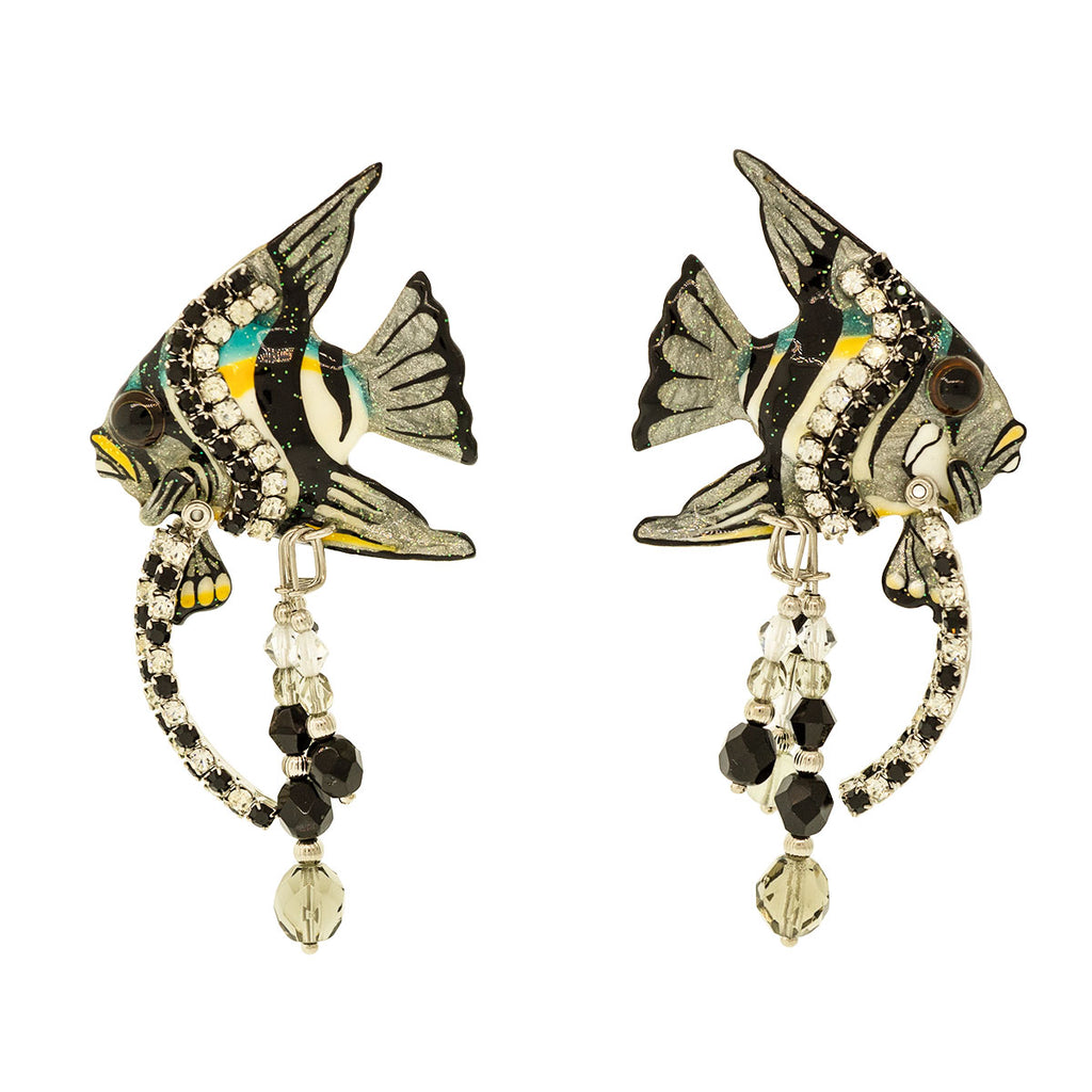 Lunch At The Ritz Silvertone Angel Fish Special Earrings