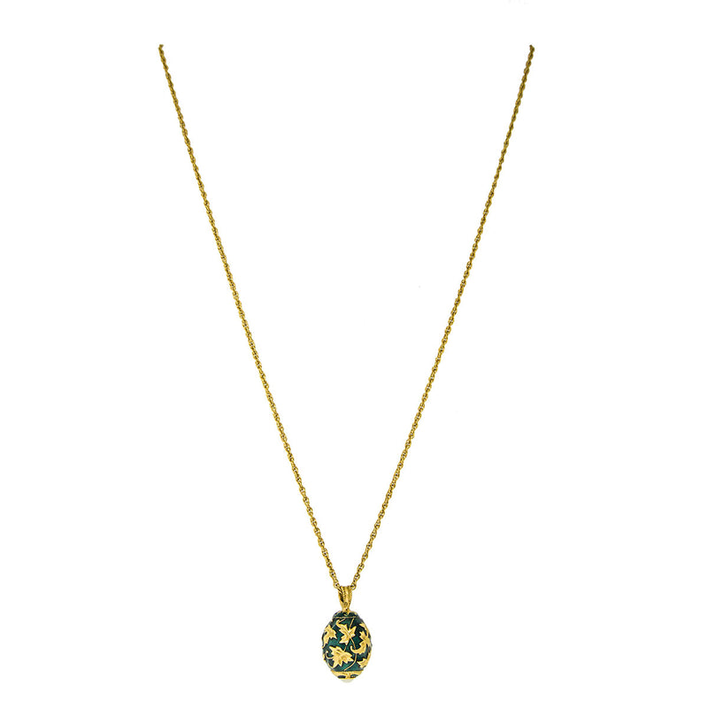 Egg Charm Pendant Necklace In Emerald Gold Leaf - Full
