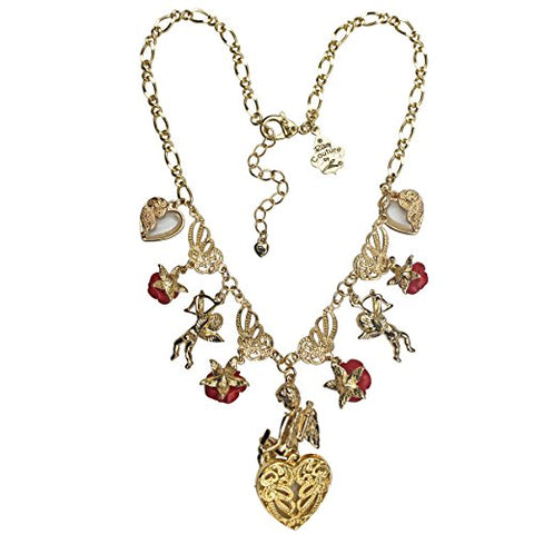 """Cupids and Romance"" Red Multi Charm Necklace (Goldtone) Ritzy Couture"