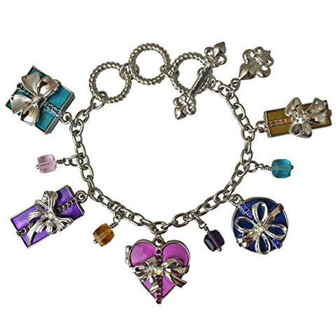 """Life's a Gift"" Charm Adjustable Toggle Bracelet (Silvertone) Ritzy Couture"