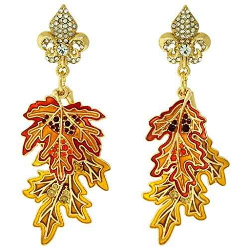 """Leaf Peepers"" Fall Maple & Oak Autumn Leaves Earrings (Goldtone) Ritzy Couture"
