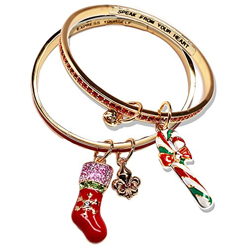 Ritzy Couture Women Christmas Gift Gold Plated Candy Cane and Christmas Fleur-de-Lis Bangle Bracelet Set