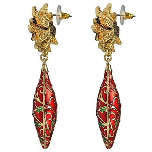 Twas the Night Poinsettia Christmas Drop Earrings - Side View