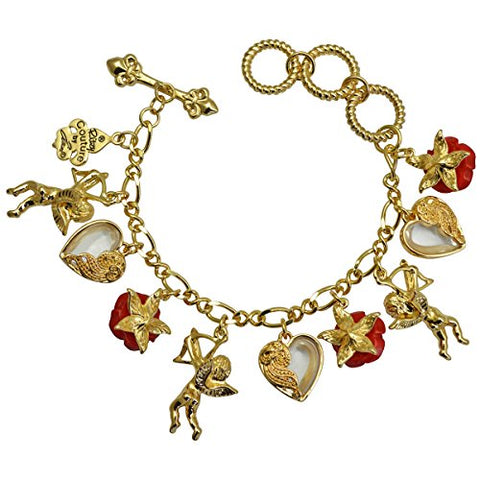 """Cupids and Romance"" Red Adjustable Multi Charm Bracelet (Goldtone) Ritzy Couture"