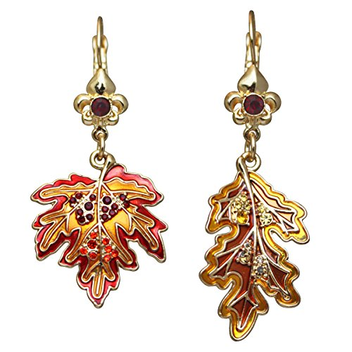 Oak & Maple Leaf Leverback Earrings | Fall Leaf Earrings