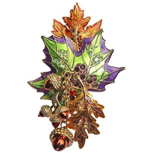 """Autumn in New York"" Fall Foliage Leaf & Acorn Pin/Pendant (Goldtone) Ritzy Couture"