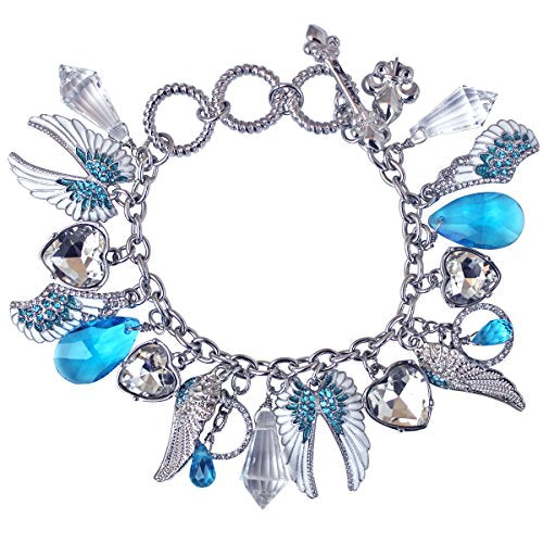 """Angels Among Us"" Adjustable Multi Charm (silvertone) Bracelet Ritzy Couture"