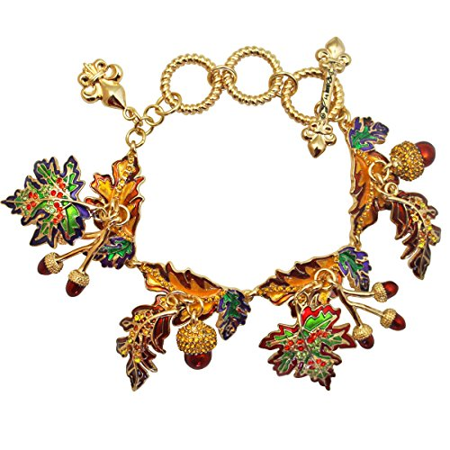 """Autumn Leaves"" Fall Leaf & Acorn Adjustable Toggle Bracelet (Goldtone) Ritzy Couture"
