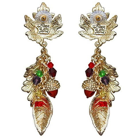 """Autumn in New York"" Maple & Oak Leaves with Acorn Fall Foliage Earrings (Goldtone) Ritzy Couture"