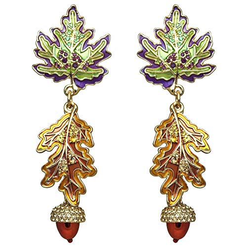 Leaf & Acorn Fall Foliage Earrings (Goldtone)