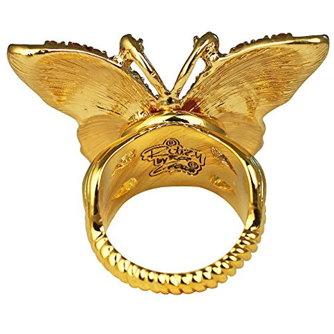 """Butterflies are Free"" Multicolor Butterfly Statement (Goldtone) Ring Ritzy Couture"
