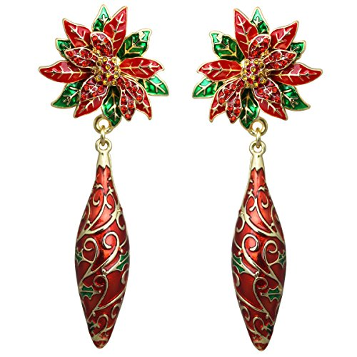 Twas the Night Poinsettia Christmas Drop Earrings