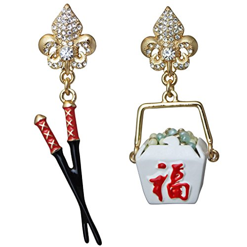 """Chinese To Go"" Container & Chopsticks Earrings (Goldtone) Ritzy Couture"
