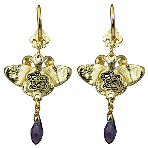 """Monarch Butterfly"" Multi Color Purple Dangle Leverback Earrings (Goldtone) Ritzy Couture"