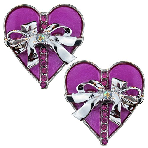 """Life's a Gift"" Wrapped Gift Stud Earrings - Purple Silvertone Ritzy Couture"