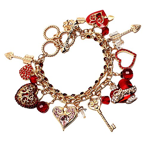 """Love Life"" Heart & Arrow Valentine's Day Message Red Charm Bracelet with Adjustable Toggle (Goldtone) Ritzy Couture"