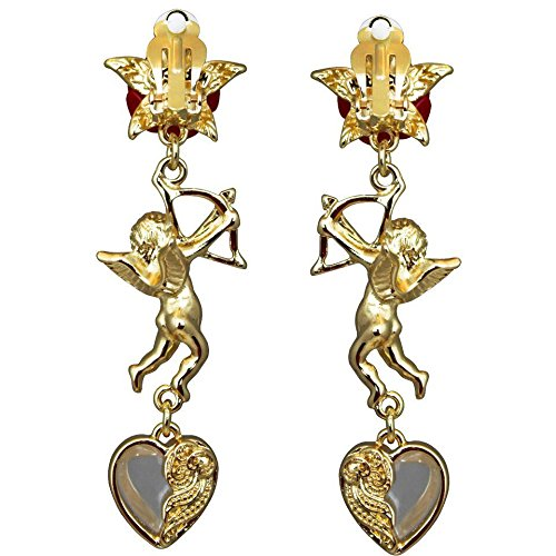 Cupids and Romance Drop Dangle Charm Earrings For Women | Back Side