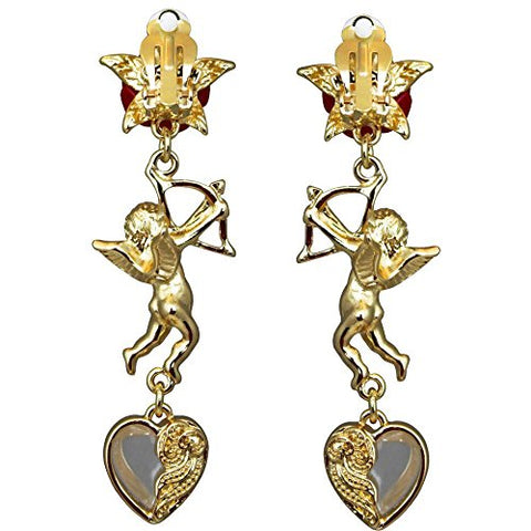 """Cupids and Romance"" Red Drop Dangle Earrings (Goldtone) Ritzy Couture"