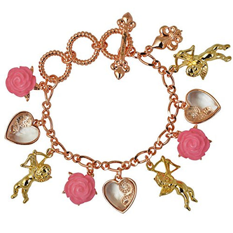 """Cupids and Romance"" Pink Adjustable Multi Charm Bracelet (Rose Gold/Goldtone) Ritzy Couture"