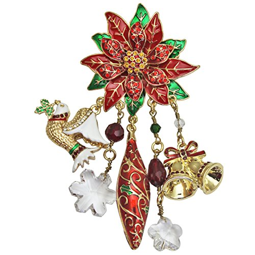 """Twas the Night"" Christmas Poinsettia & Charm Brooch/Pendants Ritzy Couture"