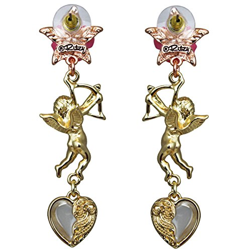 Cupids and Romance Drop Dangle Earrings - Jewelry Earrings | Back Side