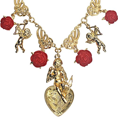 Red Multi Charm Pendant Necklace - Necklace For Women