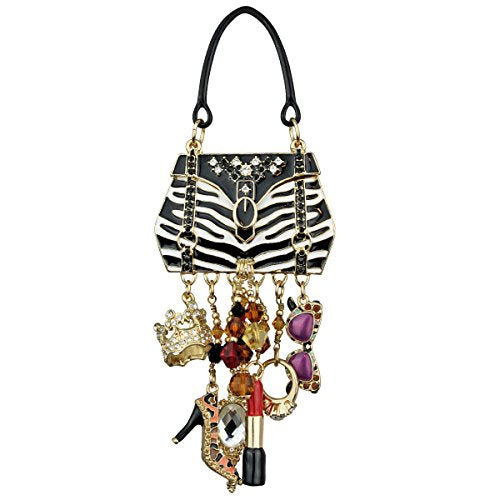 """Shopping"" Deluxe Multi Charm Pin/Pendant (Goldtone) Ritzy Couture"