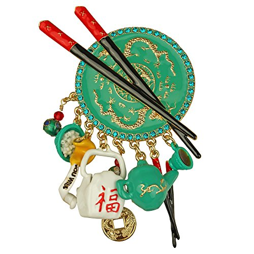 """Chinese Takeout"" To Go Style Multi Charm Pin/Pendant (Goldtone) Ritzy Couture"